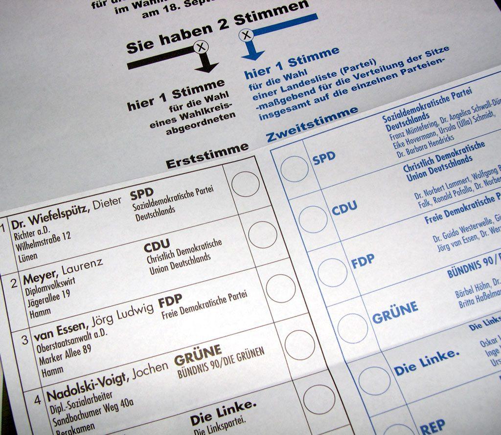 Ein Stimmwahlzettel zur Bundestagswahl aus dem Jahr 2017