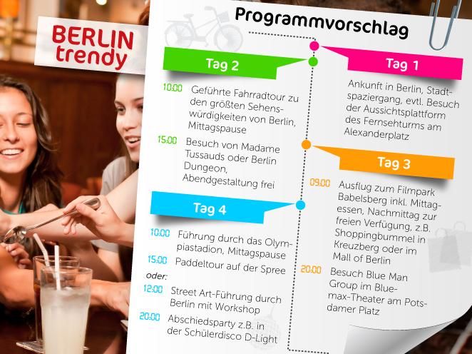 Programmvorschlag von HEROLÉ für eine Klassenfahrt nach Berlin: Jetzt das trendige Berlin kennenlernen