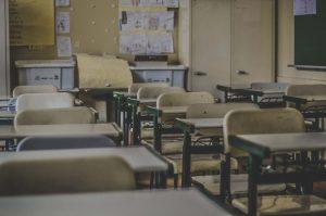 Blicken Sie in ein leeres Klassenzimmer
