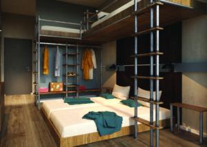 Blick in ein Mehrbettzimmer des MEININGER-Hostels in Berlin