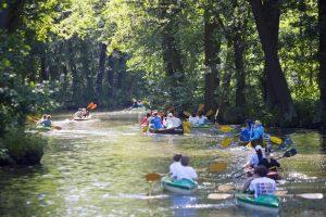 Eine Paddlergruppe unterwegs mit Kanus im Spreewald