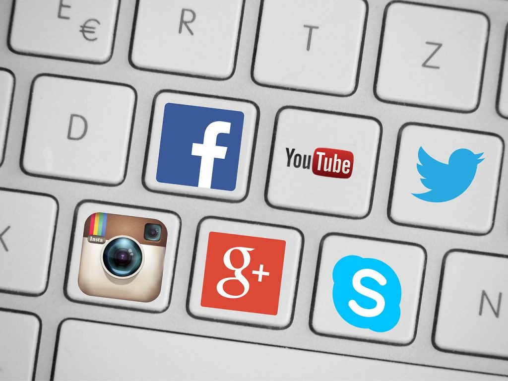 Blick auf die zahlreichen ICONS in der Social-Media Welt