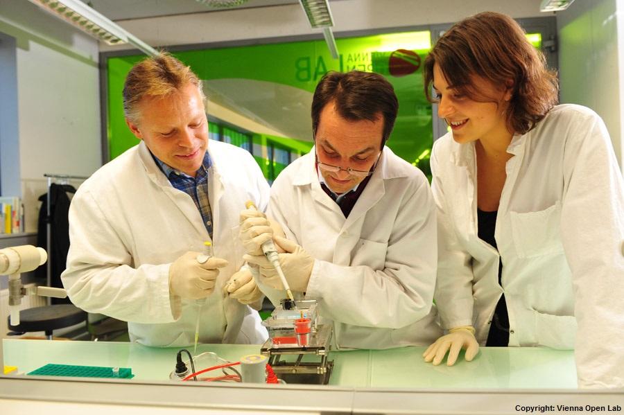 Schüler können den Angestellten des Vienna Open Lab beim Experimentieren über die Schulter schauen